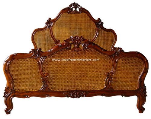 Louis XV Rattan French Bed in Mahogany
